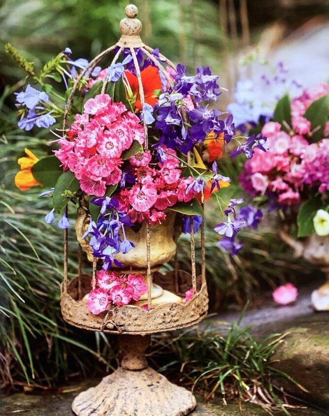how to make a flower arrangement using a decorative bird cage, inspiration photo of birdcage arrangement