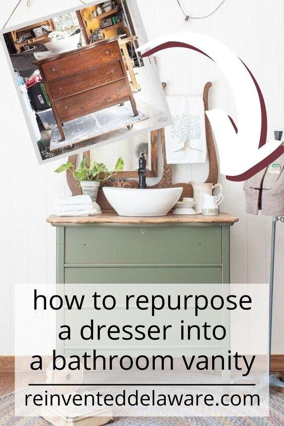 repurposed dresser converted to bathroom vanity