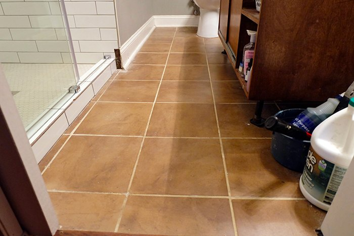 diy ceramic tile cover up with concrete