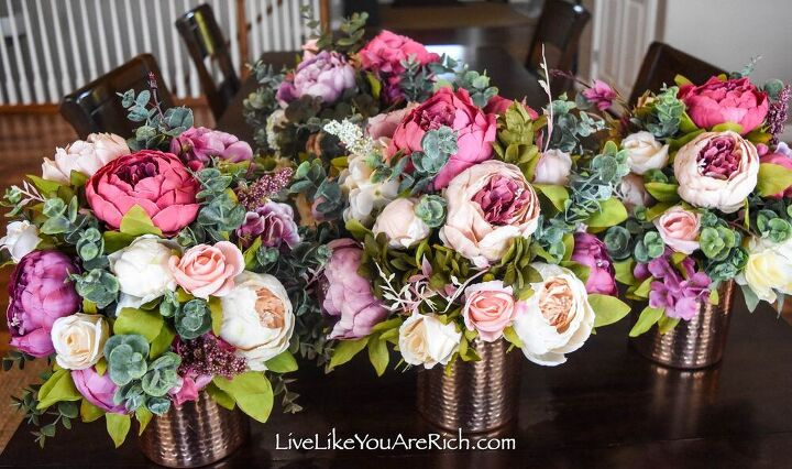 peony and rose artificial flower arrangements