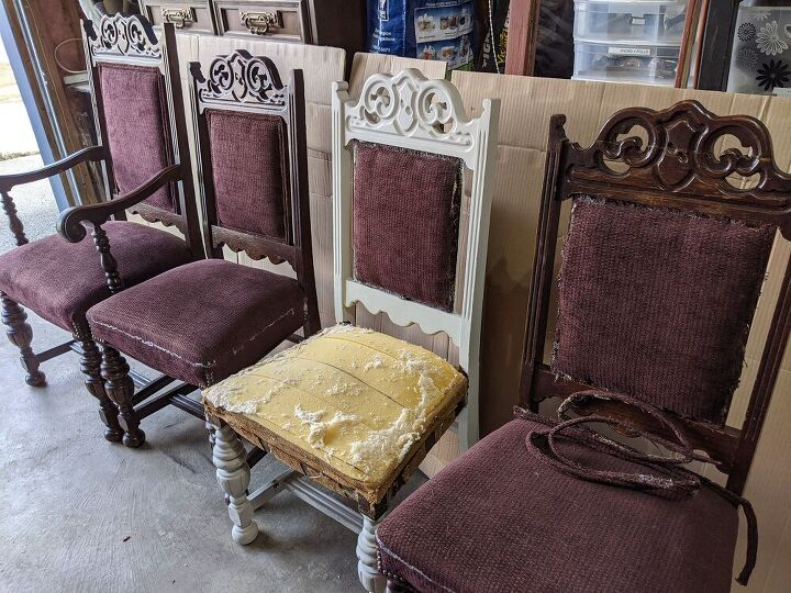 drab old dining chairs repurposed into fun patio furniture, Free chairs