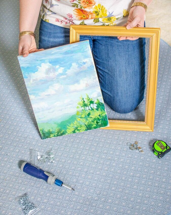 the simple way to frame a painting with offset clips