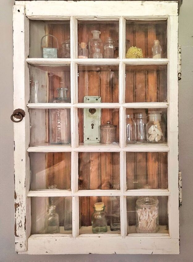 how to repurpose a vintage window into a cabinet