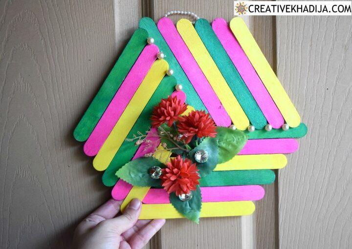 diy popsicle stick craft colorful wall art idea