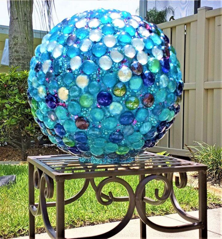 fun beautiful diy gazing ball, Completed Gazing Ball outside in the FL Sun