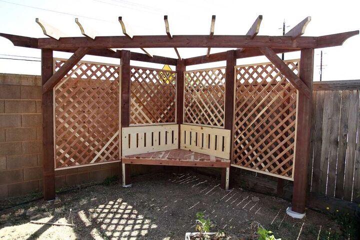garden arbor with a bench