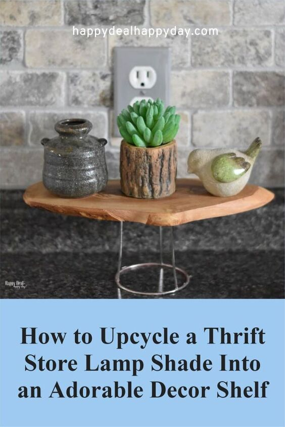how to upcycle a thrift store lampshade, Can you guess what part of a lamp has been upcycled in the picture above