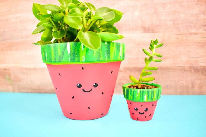how to make painted terracotta pots watermelon painted planter ideas