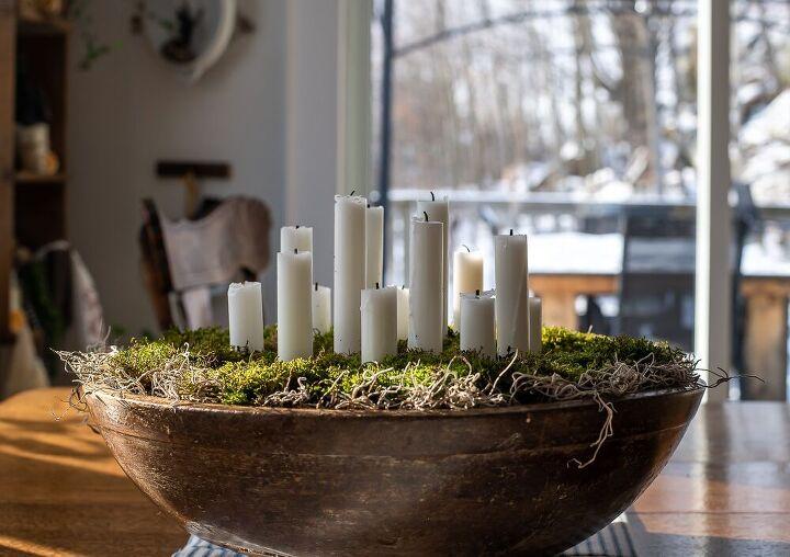 scandinavian inspired candleholder with moss cozy living