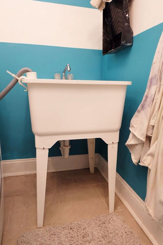 how to hide a laundry utility tub sink
