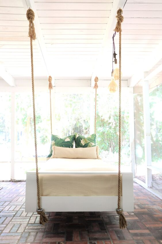s 15 ideas to make your backyard more fun in time for june, A cozy swinging bed