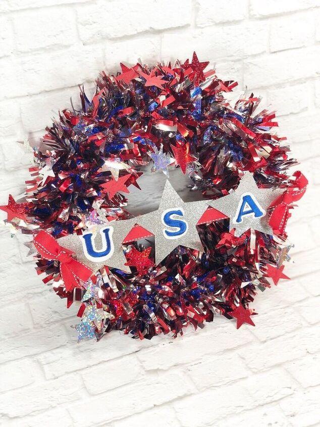 patriotic garland wreath a dollar tree diy
