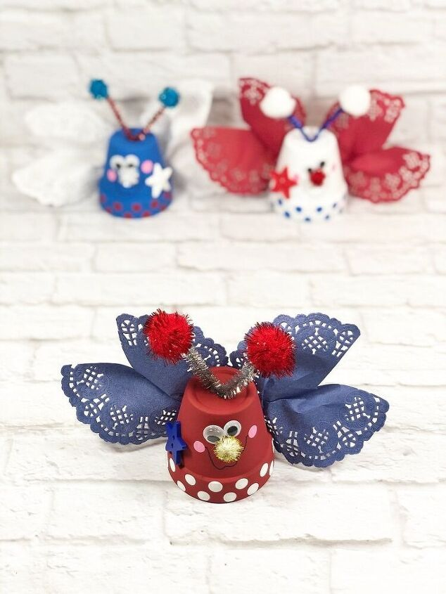 patriotic clay pot love bugs with dollar tree supplies