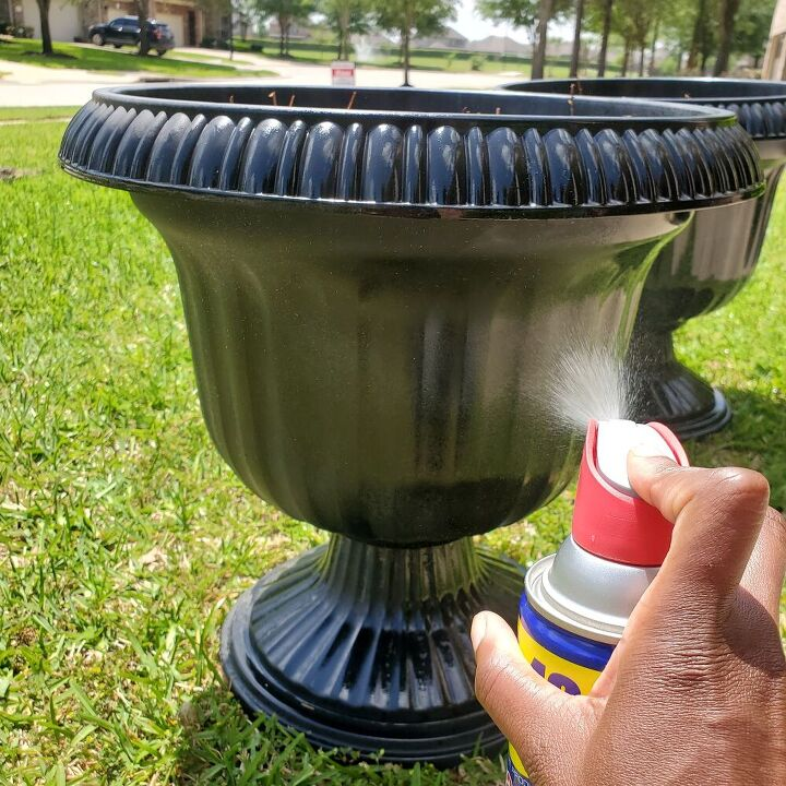 how to clean plastic planters so they look like new again Step 2 - spray the planter with WD-40