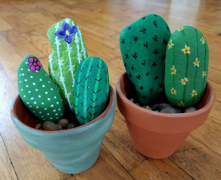 diy painted cacti rocks, I love the look of these