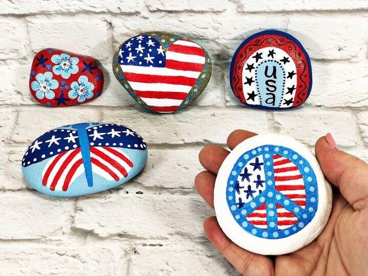 patriotic painted rocks to celebrate america