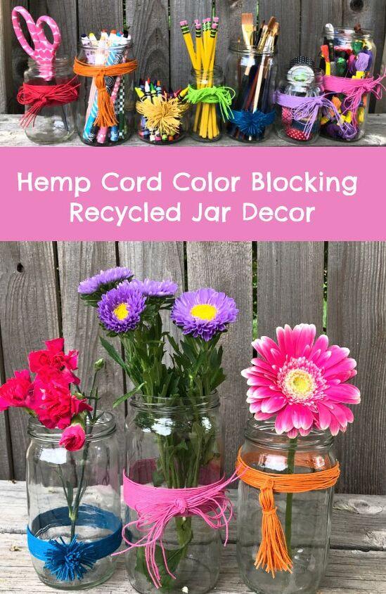 color blocking recycled jar decor