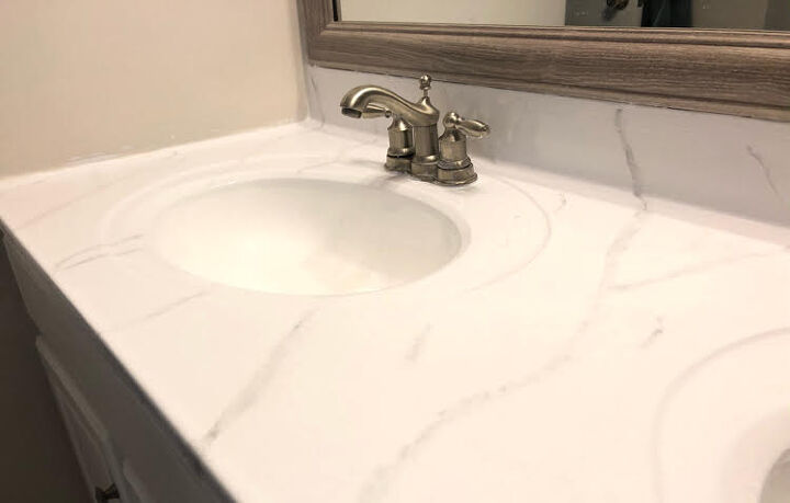 the secret to getting marble counters on a budget
