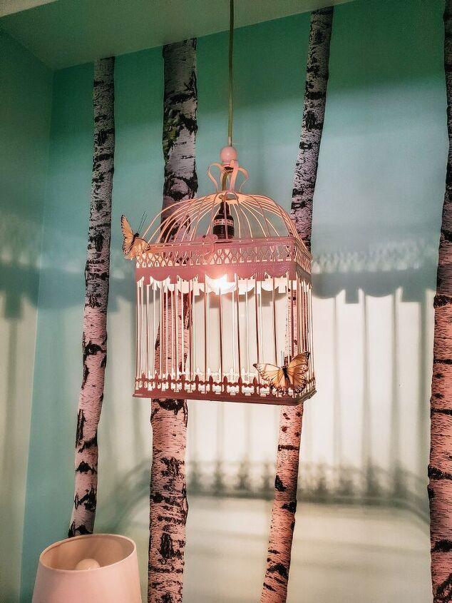 diy whimsical bird cage hanging lamp