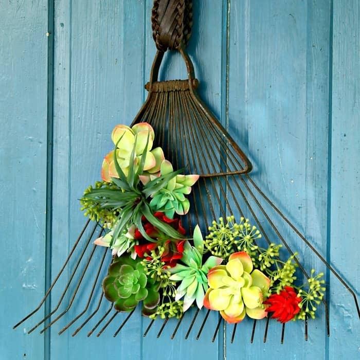 rake wreath door project