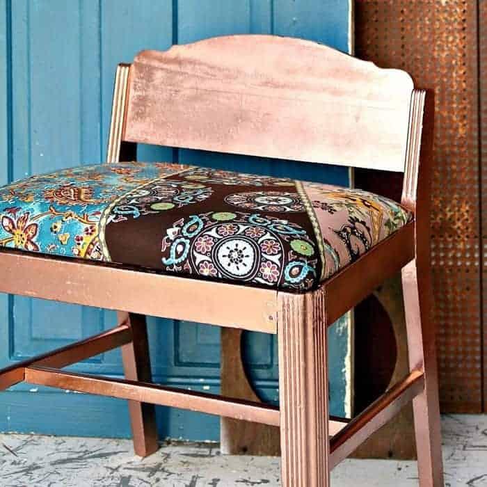 spray paint a vintage vanity stool