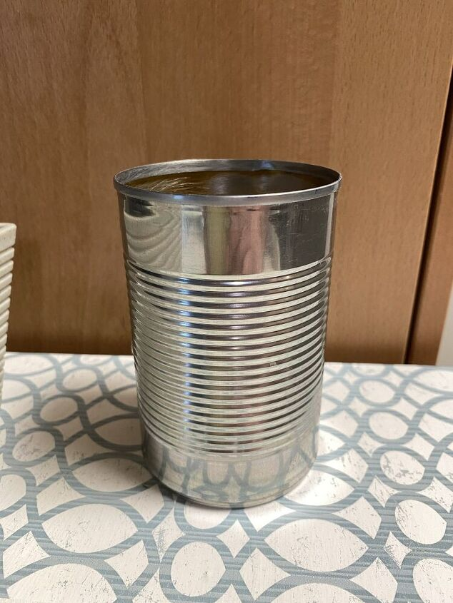 how to change a plain soup can into a gorgeous diy pencil holder