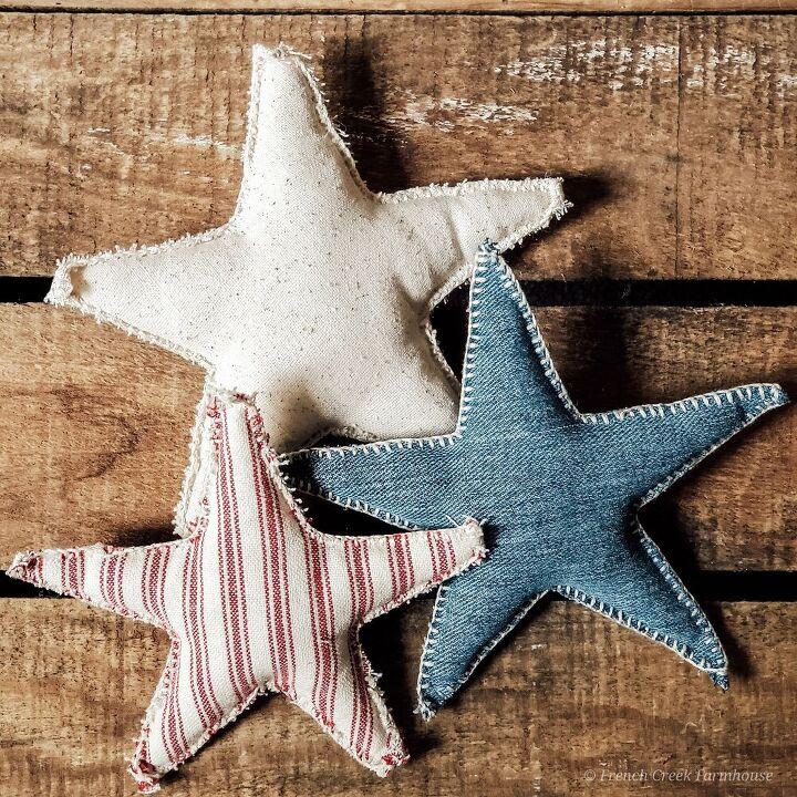 patriotic farmhouse fabric stars