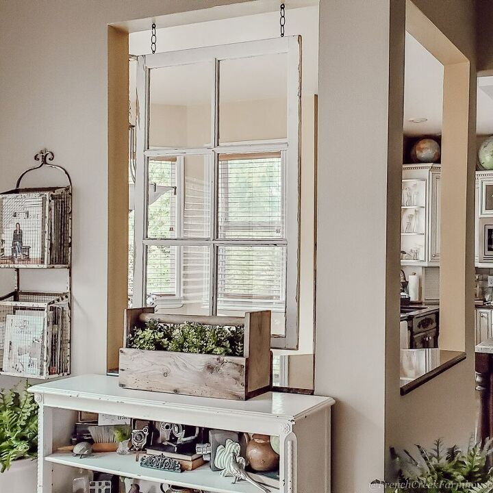 how to hang an old window from the ceiling