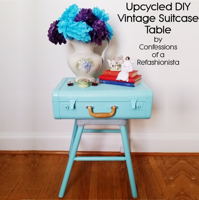 upcycled diy vintage suitcase table
