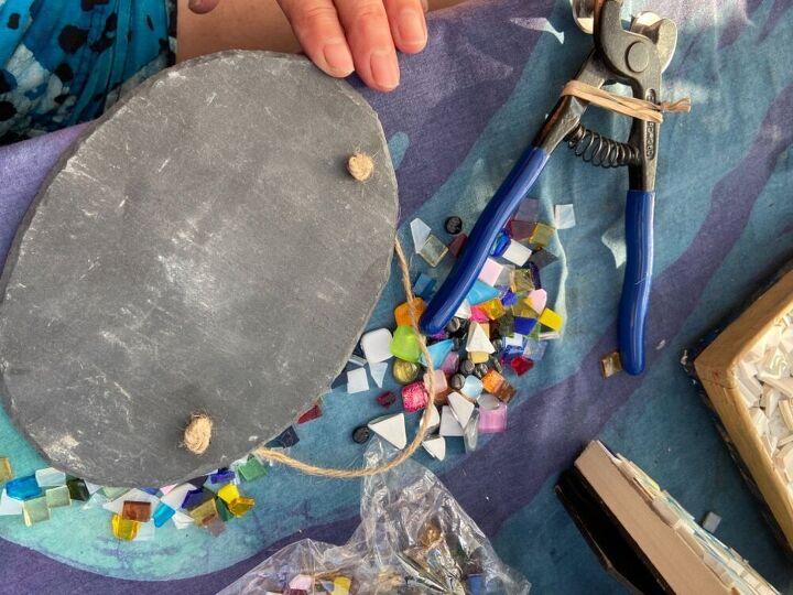 how to make a pretty mini stain glass yard art slate, Slate