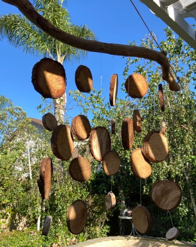 wooden tree cookie wind chimes from nature, Tree slice wind chime decoration