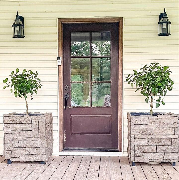 easy porch makeover using stone diy grill insert planter box tutori