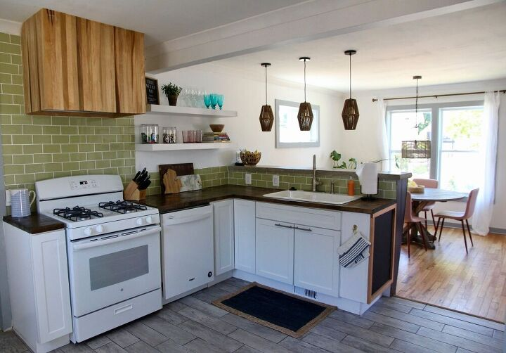 diy wood vent hood with a modern vibe, Finished cottage kitchen