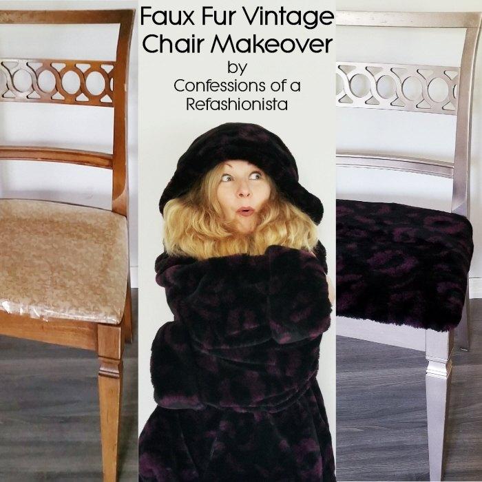 faux fur vintage chair makeover tutorial