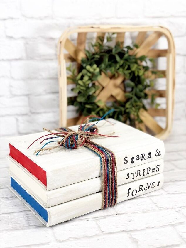 dollar tree patriotic book stack easy home decor