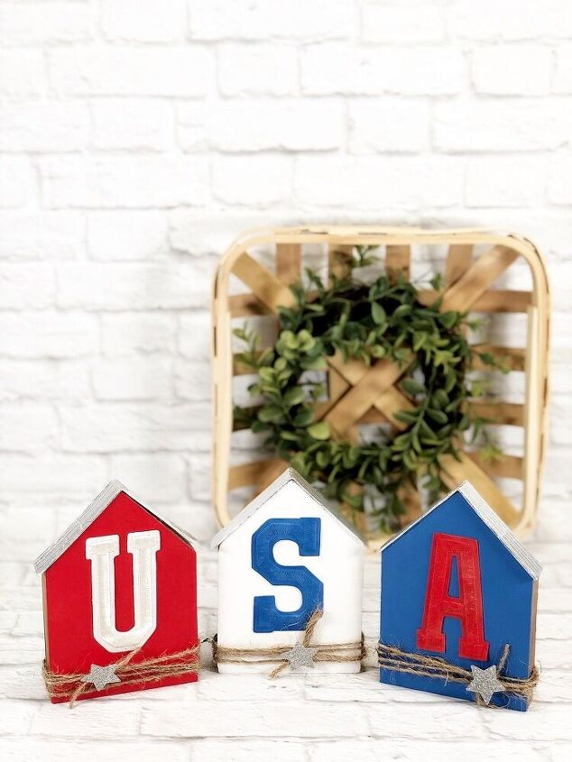 patriotic usa wooden houses perfect for farmhouse decor