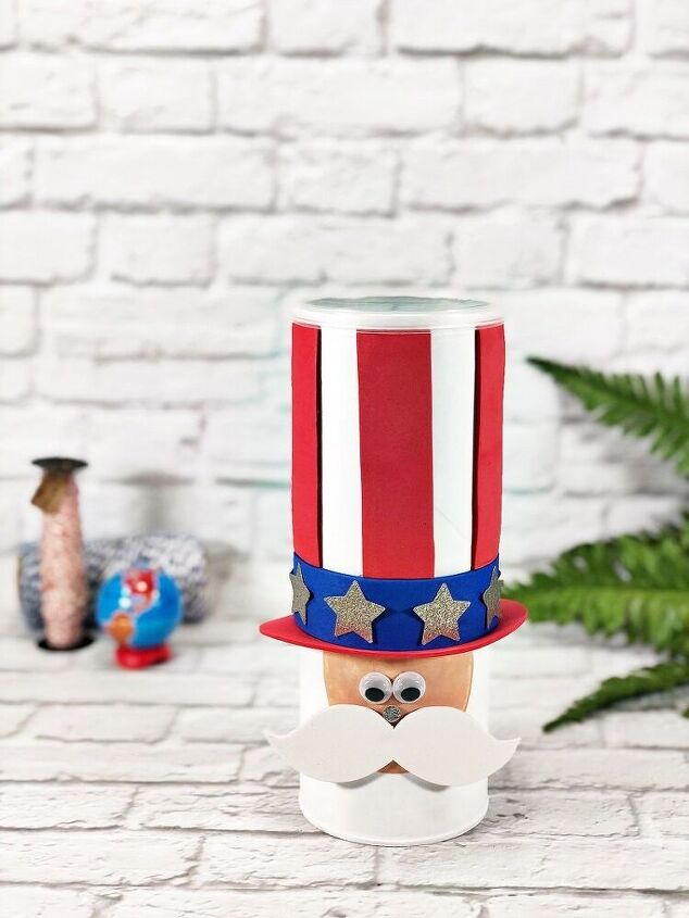 uncle sam upcycled chip can for the fourth of july