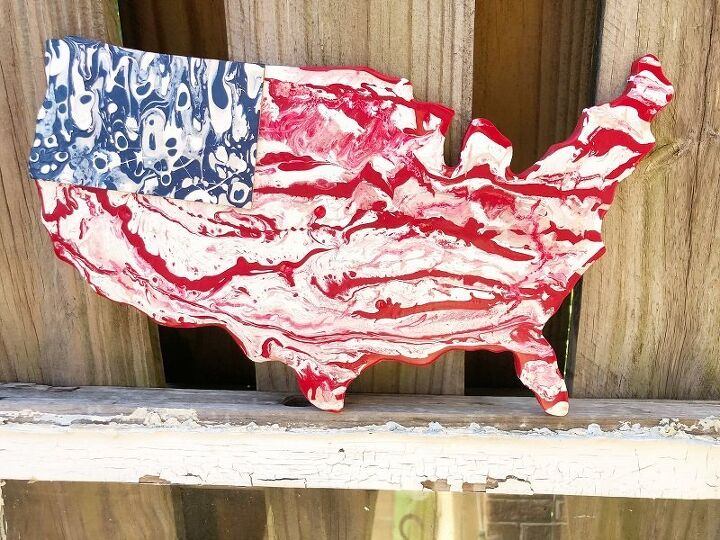 paint pour american flag with decoart
