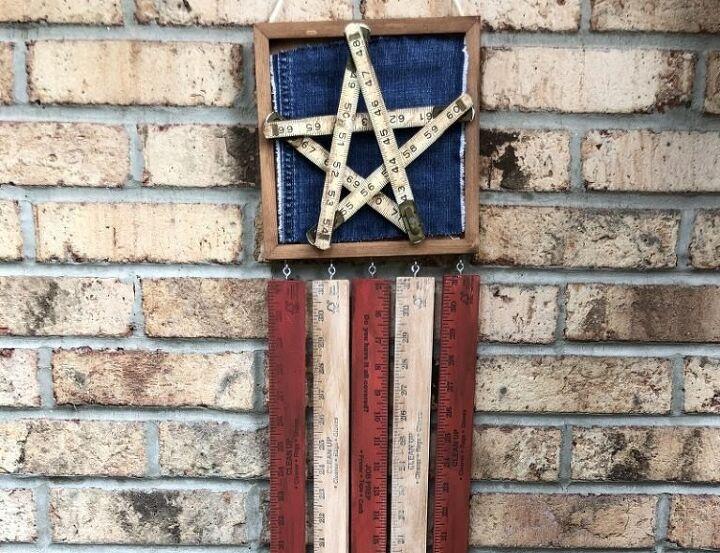 american flag door hanger created from vintage rulers