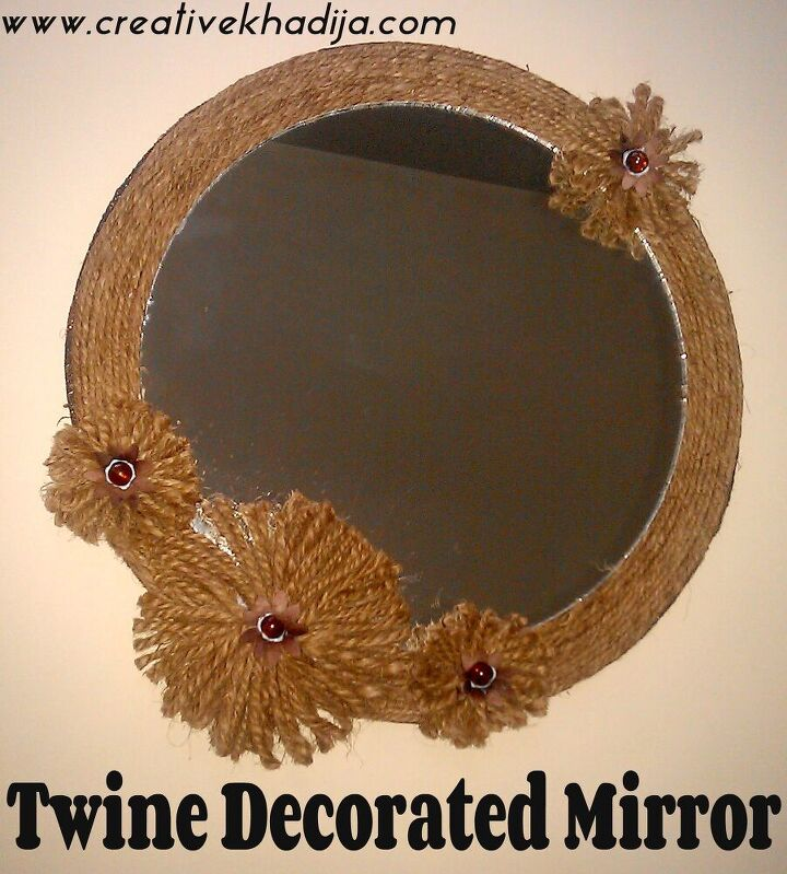 fall inspired twine decorated mirror
