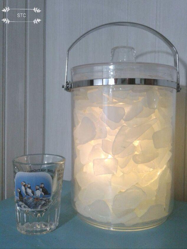 sea glass and ice bucket summer lighting, Sea Glass Ice Bucket Light