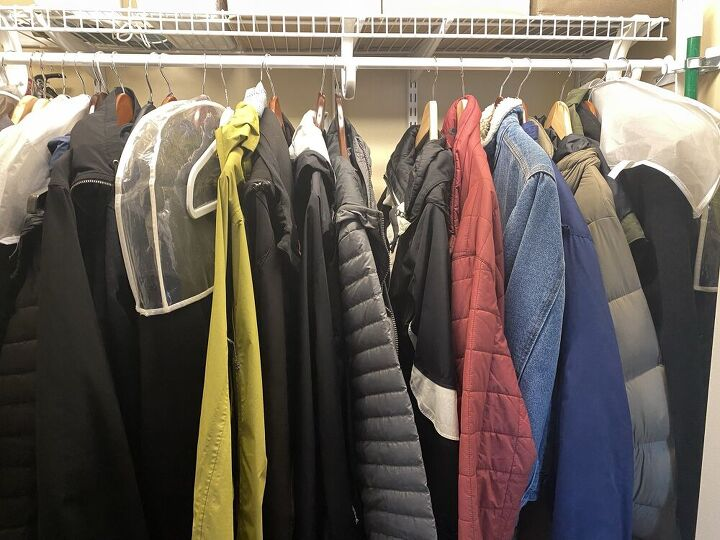 how to easily organize family coats in a coat closet
