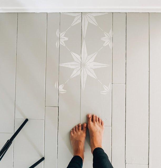 entryway diy stenciled floor