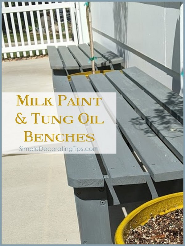 milk paint and tung oil benches