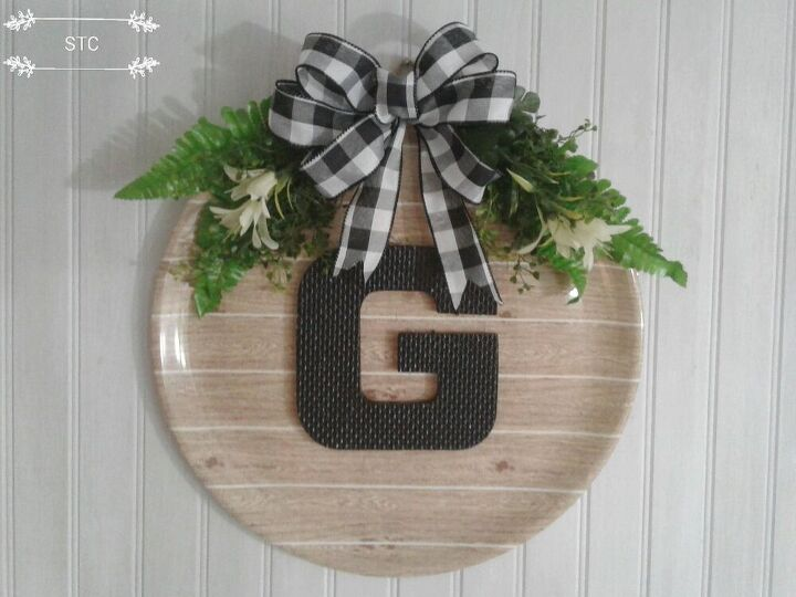 monogrammed rounds made with dollar store platters, Monogrammed Round