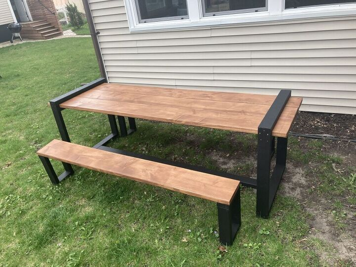outdoor dining table with framing lumber