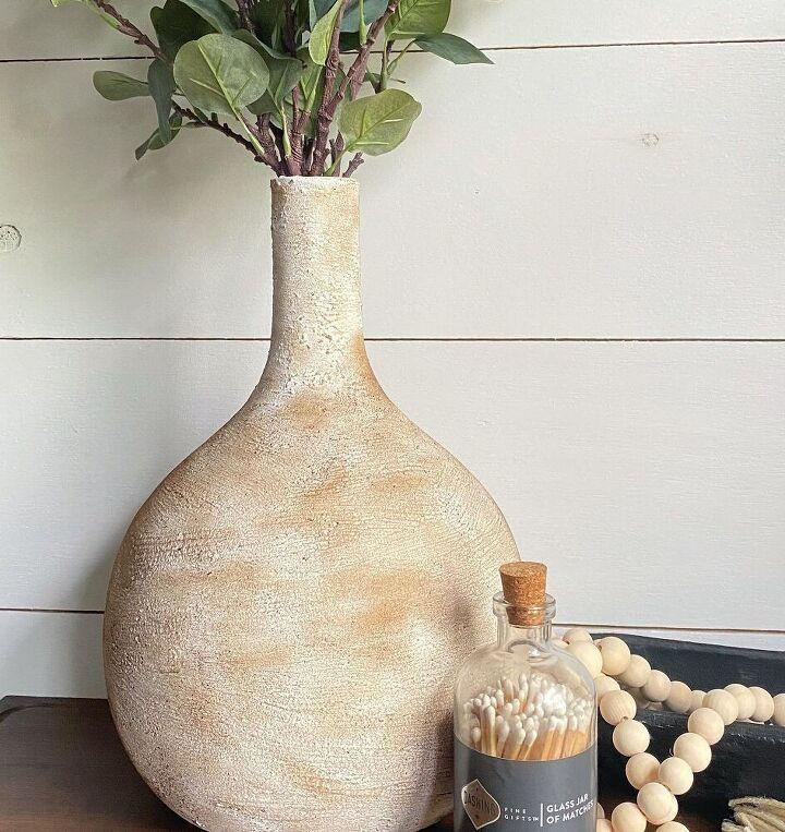thrift store lamp turned aged vase