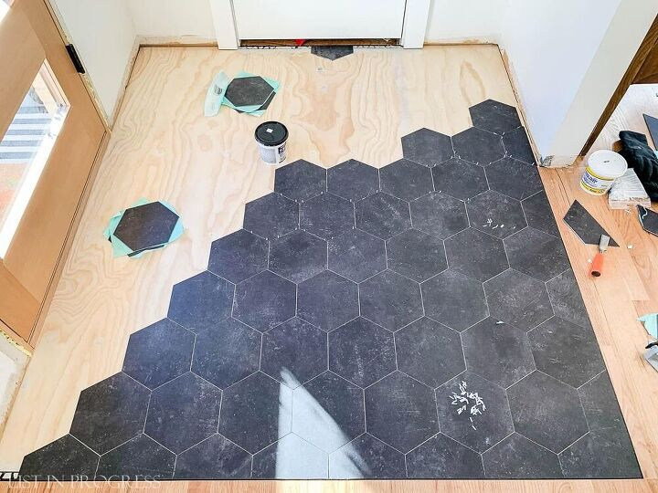 groutable vinyl floor tile cheap and easy to install