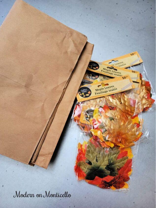 easy diy paper bag leaf garland for fall