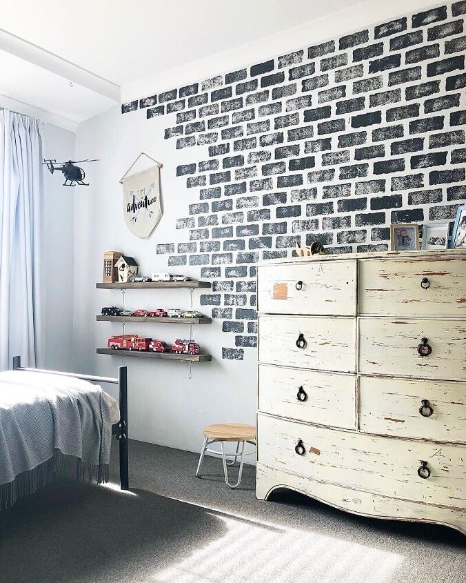 faux brick feature wall
